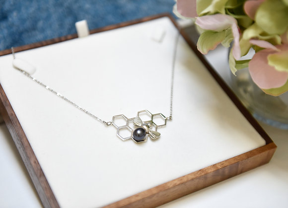 Sterling silver & Black Pearl Honeycomb Necklace