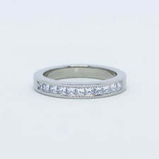 18ct white gold with 11 princess cuts channel set eternity wedding ring