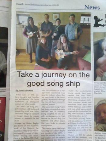 Voyage newspaper article