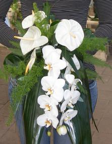 Bruidsboeket Anthuriums en orchideeën
