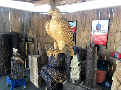 Chainsaw carved eagle