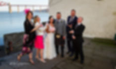 bridal party throwing confetti