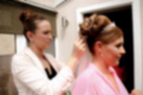 Bride and hairdresser - Kate Stevenson Photography