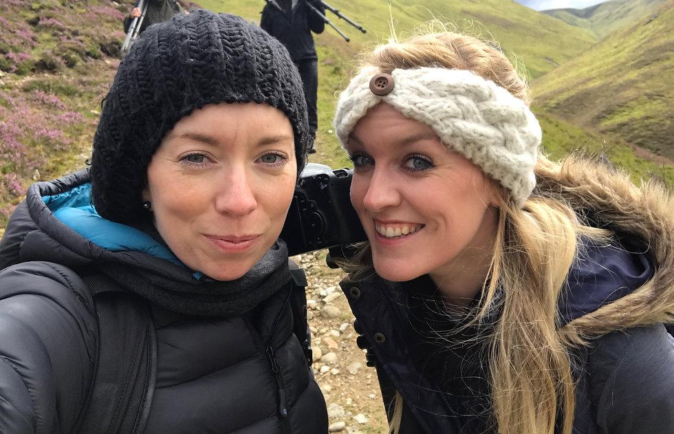 Smiling sisters landscape