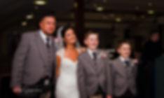 bride groom and children
