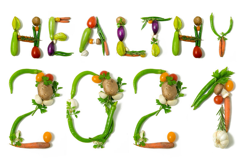 Number 2021 and healthy written with veg