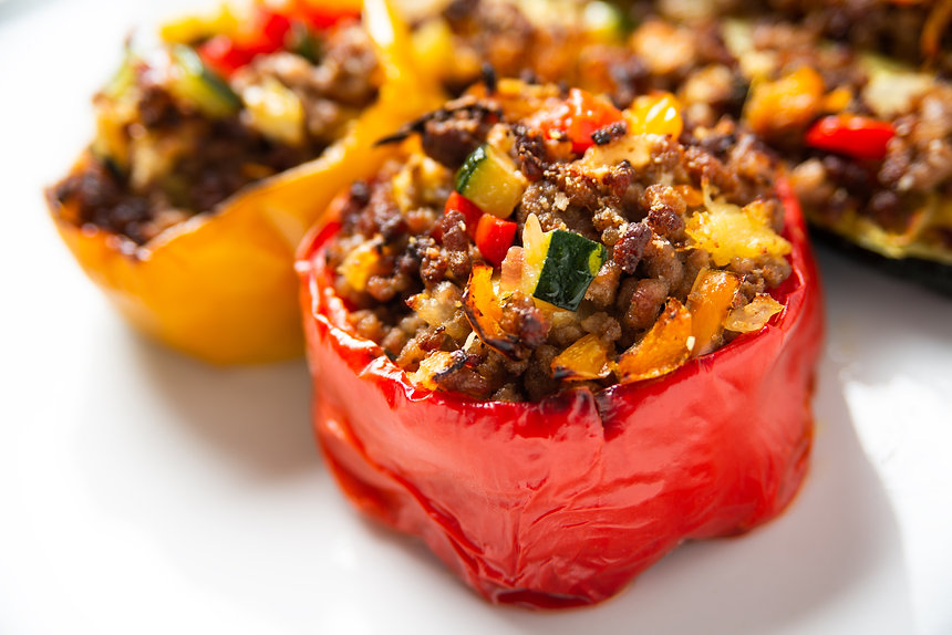 Ground beef and vegetable stuffed pepper