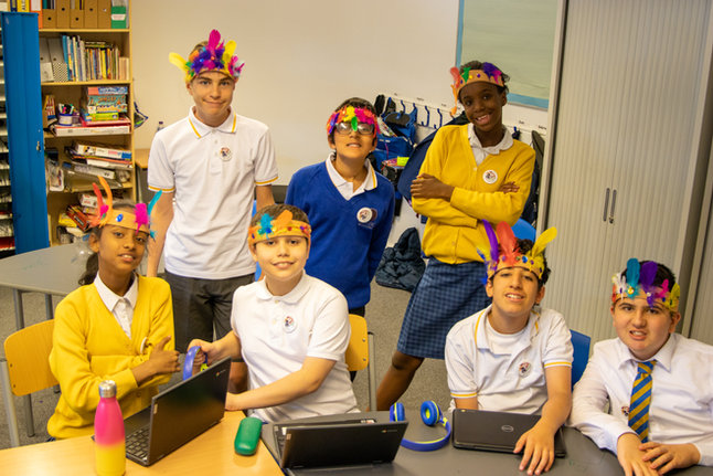 We learnt about the history of Notting Hill Carnival and took part in a workshop to make our own headdresses