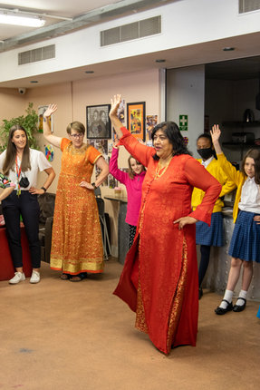 Gurinder Chadha OBE did a Bollywood Workshop with us and taught us a famous dance from her movie.