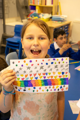 We learnt what LGBTQ+ meants , the history of the Pride Flag and had a go at making our own.