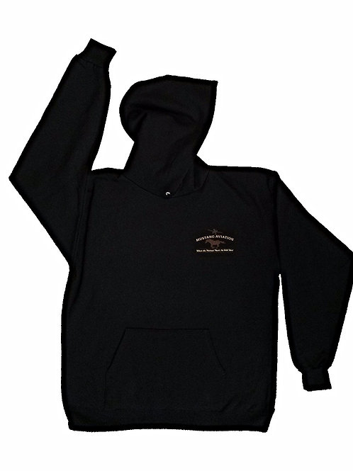 Black Hooded Sweatshirt with Tan Chest Logo