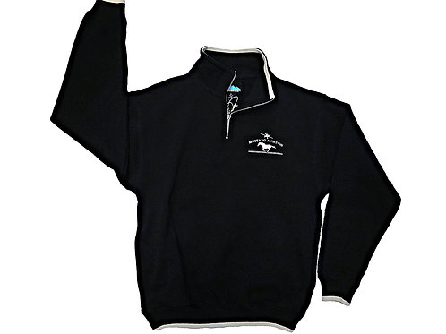 1/4 Zippered Black Pullover with Embroidered Logo