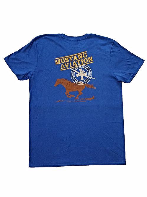 Men's Blue T-Shirt Grey Chest Logo - Slim Fit