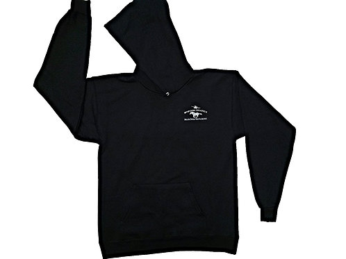 Black Hooded Sweatshirt with Grey Chest Logo
