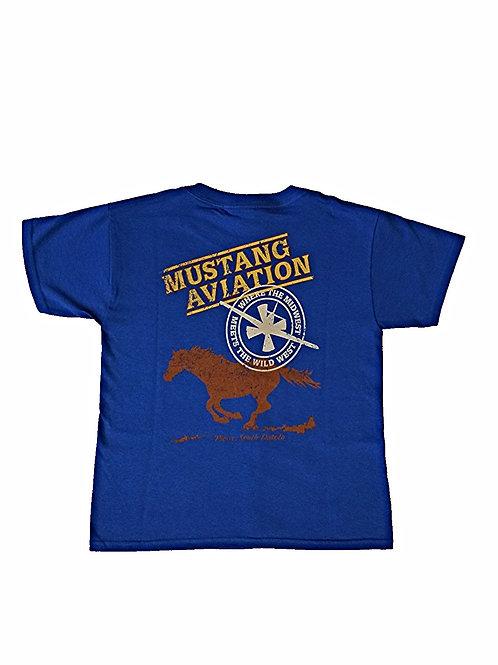 Youth Blue T-Shirt Grey Chest Logo