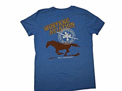 Men's Heather Blue Shirt Tan Chest Logo - Slim Fit