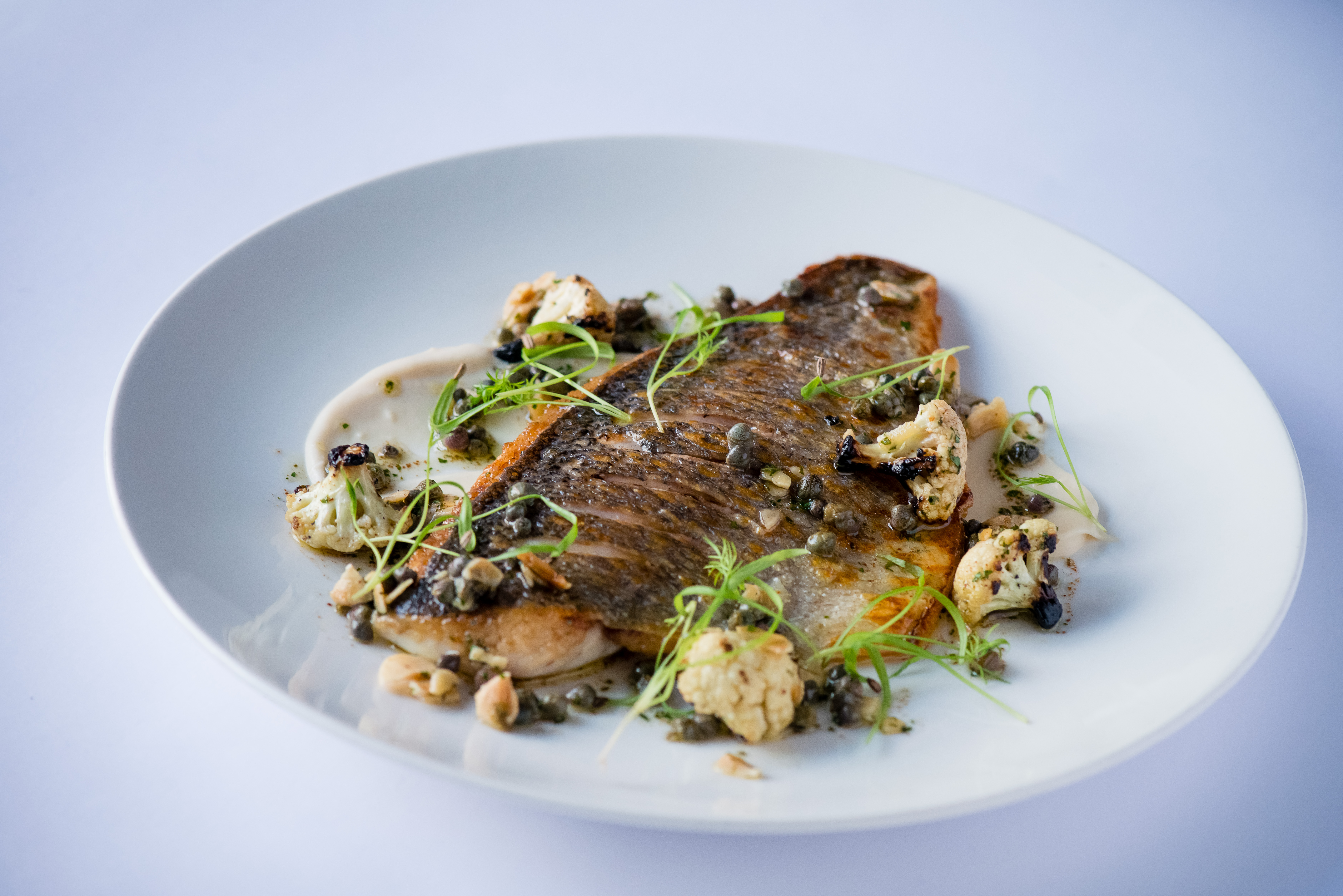 Bream, cauli, caper beurre noisette