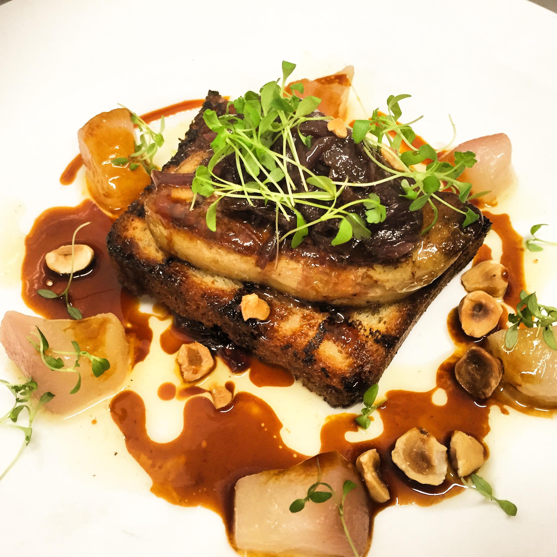 Foie gras, brioche, poached pear
