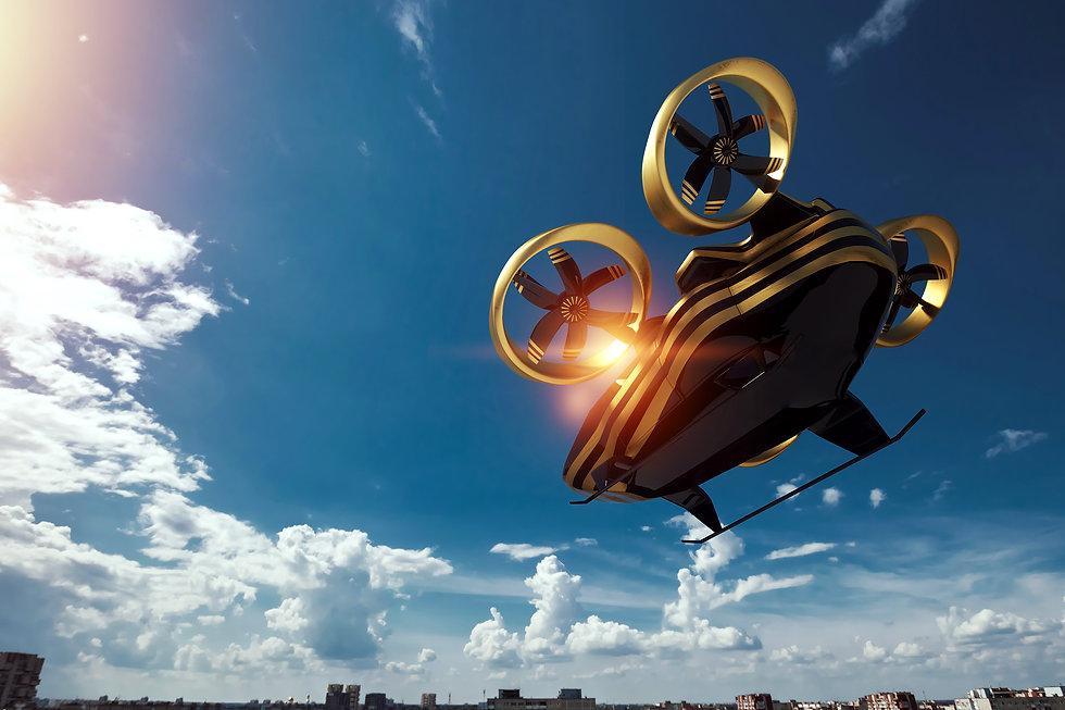 Flying car on a sky background, city ele
