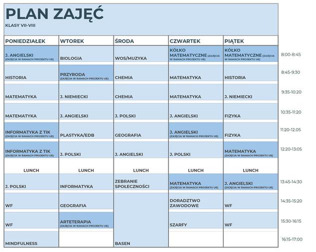 Plan zajęć klas 7 i 8