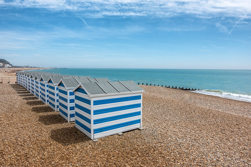 beach huts on Hastings beach in Sussex E