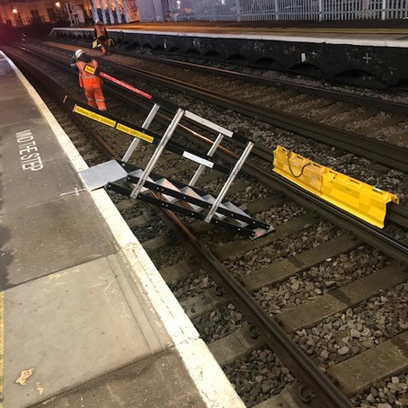 We were pleased to supply Osborne with our new and easy to install temporary track access stairs