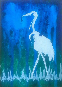 Heron on Blue