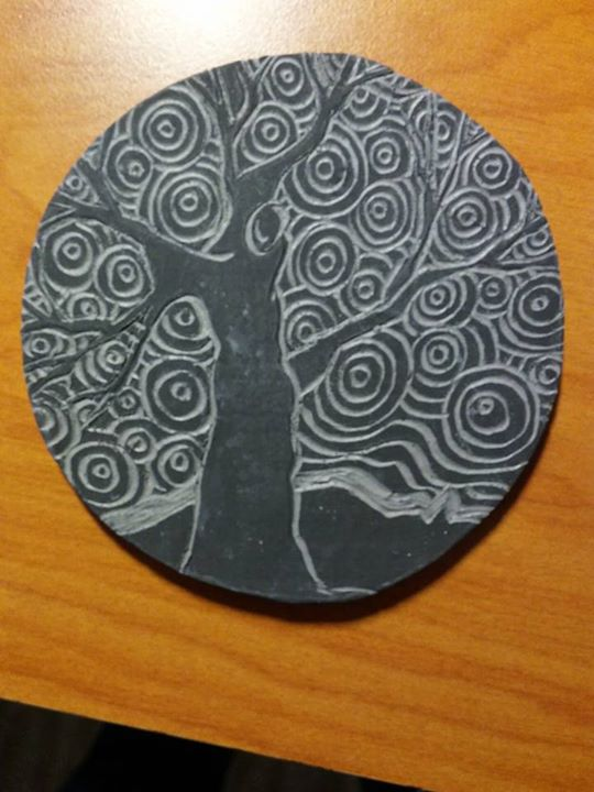 Sgraffito clay tile.jpg Still needs to be fired.jpg Done today.jpg About 3_ diameter