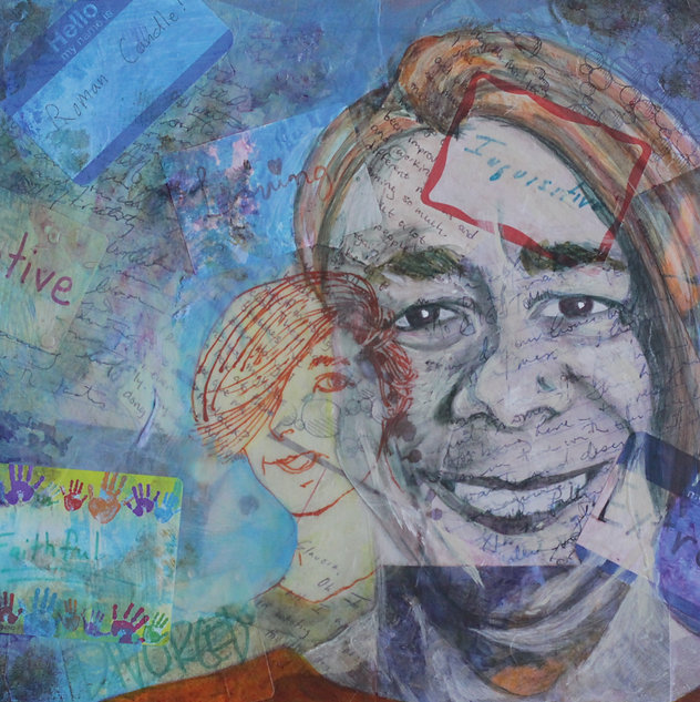 mixed media, collage, acrylic, painting, portrait, labels, layers, woman, identity