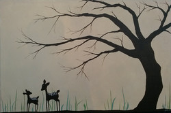 Fawns and tree