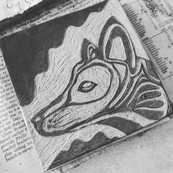 fired sgraffito fox