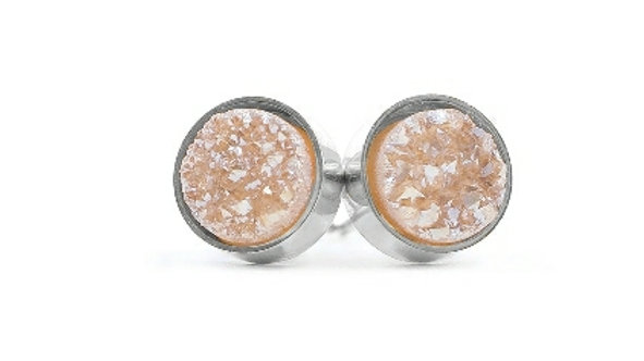 Silver Amber Studs