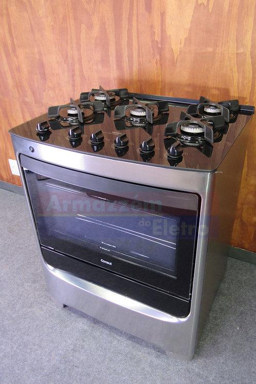 Fogão Consul 5 b cor Inox com mesa de vidro e trempe de ferro fundido