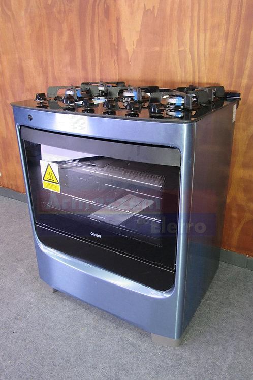 Fogão Consul 5B cor Inox mesa de vidro e trempe de ferro fundido