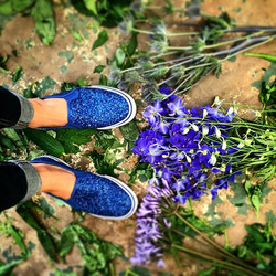 Channeling #elvis today in the workshop - #blue #shoes #keds #delphinium #eryngium #agapanthus #ench