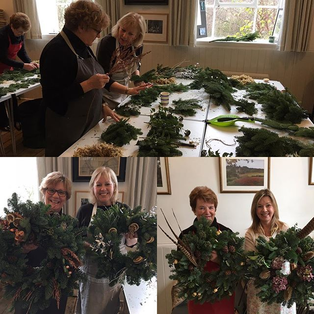 Christmas Wreath workshops -first they looked afraid , they looked petrified - but they knew they wo