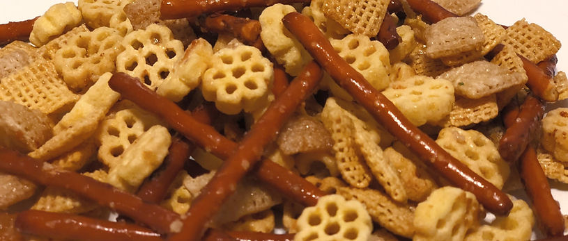 Close up of Chex Party Mix