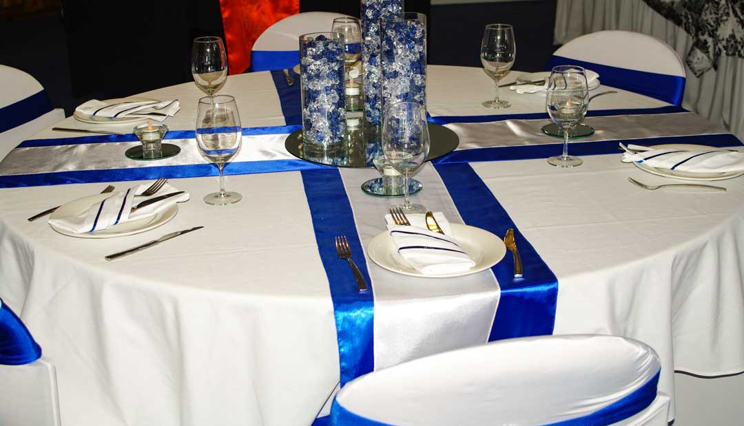 White With Silver and Royal Blue