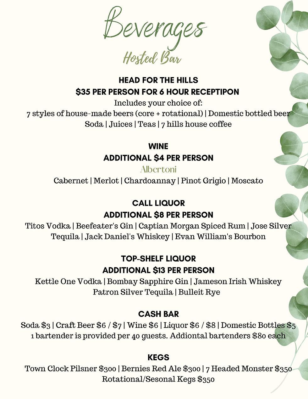 Wedding Beverage options 7 Hills Event Center