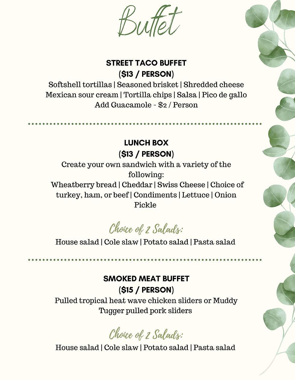 Wedding Buffet Banquet Options for 7 Hills Event Center