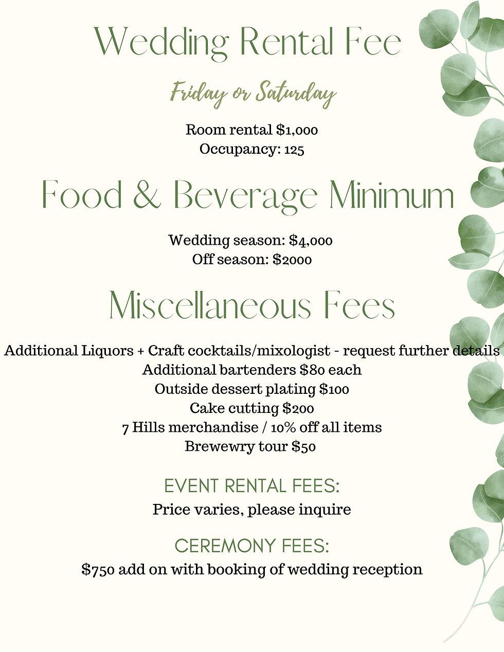 Wedding Rental Fee 7 Hills Event Center