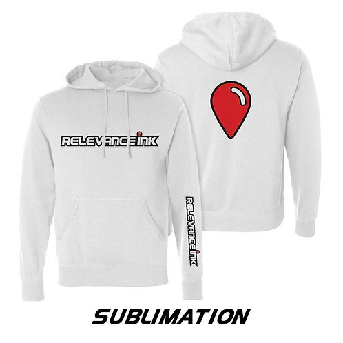Custom White Poly Hoodie (3 Placements) - Sublimation