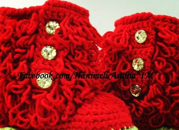 Red Crochet Baby Booties