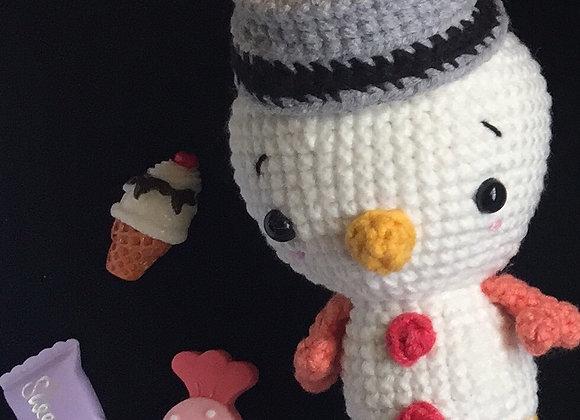 A White Snowman Amigurumi Doll