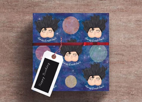 Birthday Bubble Head Wrapping Paper