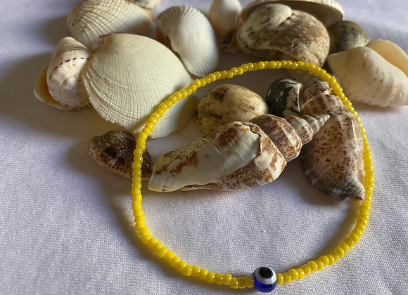 Yellow with Eye Bead Anklet