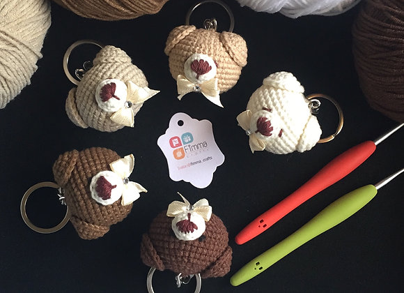 A Teddy Bear Head Amigurumi Key Chain