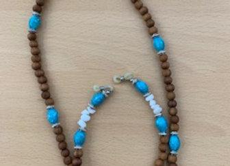Turquoise & White Beads Eye Glasses Chain