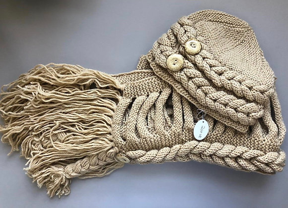 Beige Winter Hat-Scarf Set