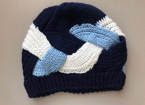 Dark & Light Blue Crochet Winter Hat